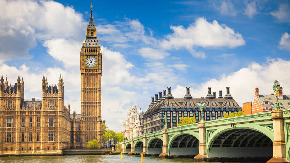 Big Ben Clock and Westminster Palace overlooking the Thames in London