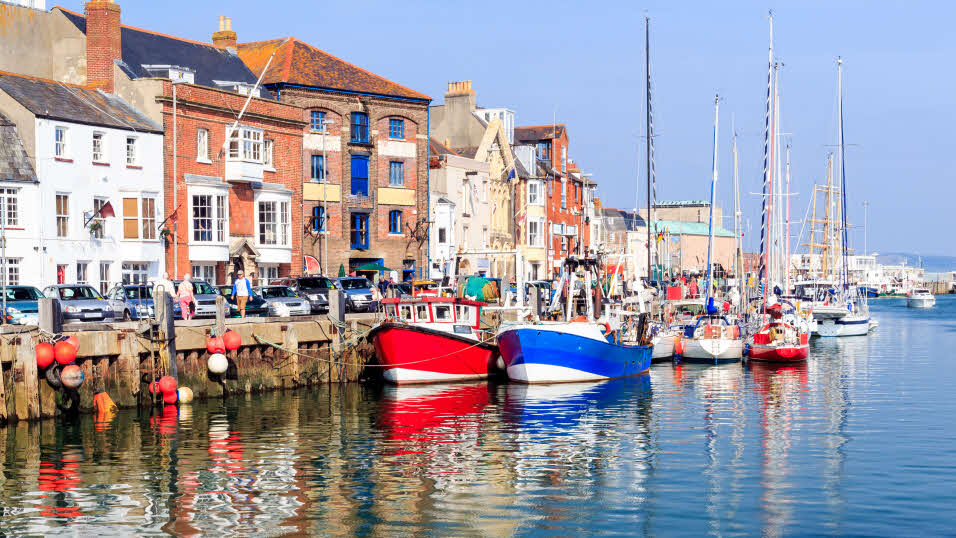boats along Weymouth harbour in Dorset