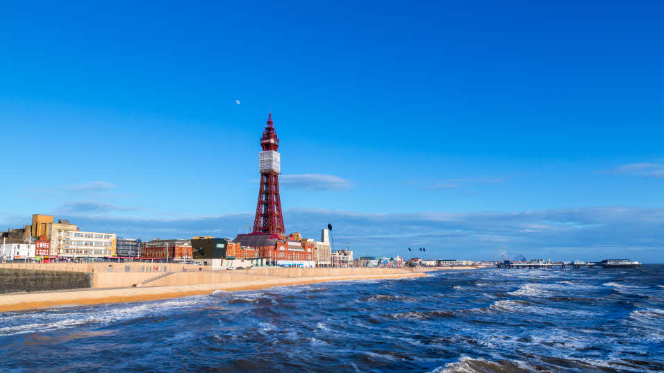 famous seaside resort with Blackpool tower in Lancashire