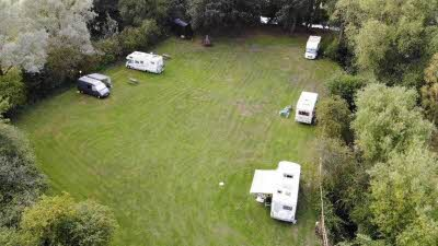 Lashlake Barn, OX9 3AU, Thame, Oxfordshire, CL owner, 2020, aerial view, pitch, caravan, trees, car
