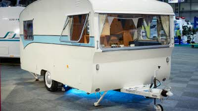 A vintage 1967 Bailey Maestro caravan on display at the NEC in Birmingham