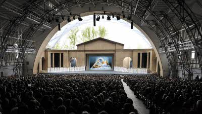 Photo of the stage and audience at the Oberammergau, Passion Play